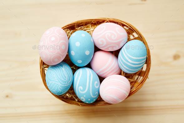 Easter eggs in basket - Stock Photo - Images
