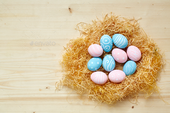 Easter eggs in nest - Stock Photo - Images