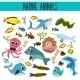 Cartoon Set Of Cute Sea Animals  - GraphicRiver Item for Sale