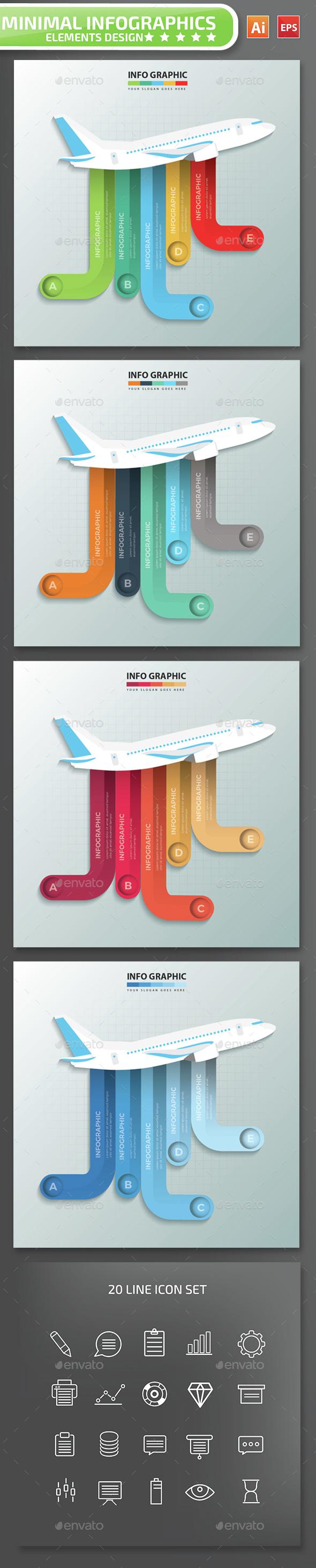 Minimal Airplane Infographics Design - Infographics