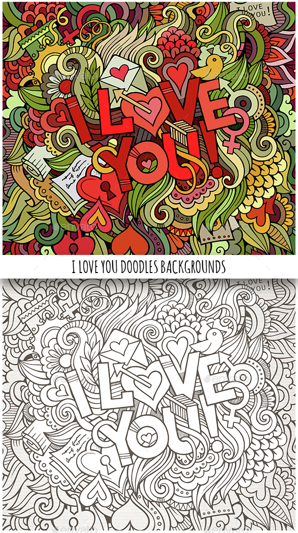 2 I Love You Doodles Backgrounds - Valentines Seasons/Holidays