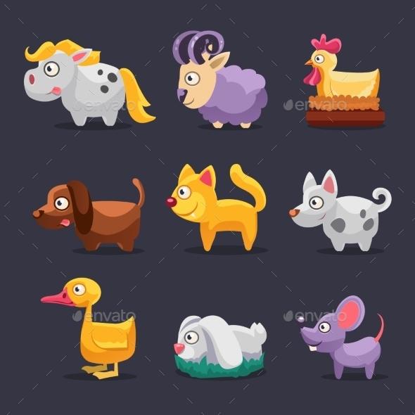 Vector Illustration Of Farm Animals  - Animals Characters