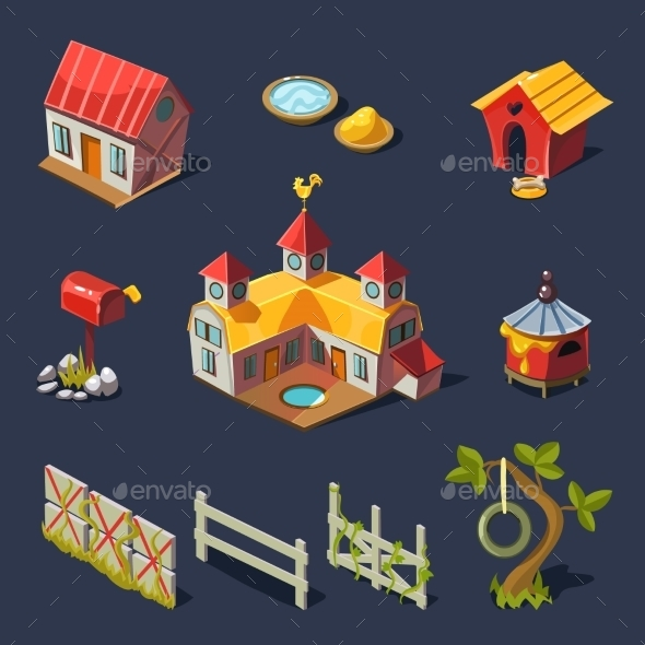 Farm Big Set Of Design Elements In Modern Flat - Objects Vectors