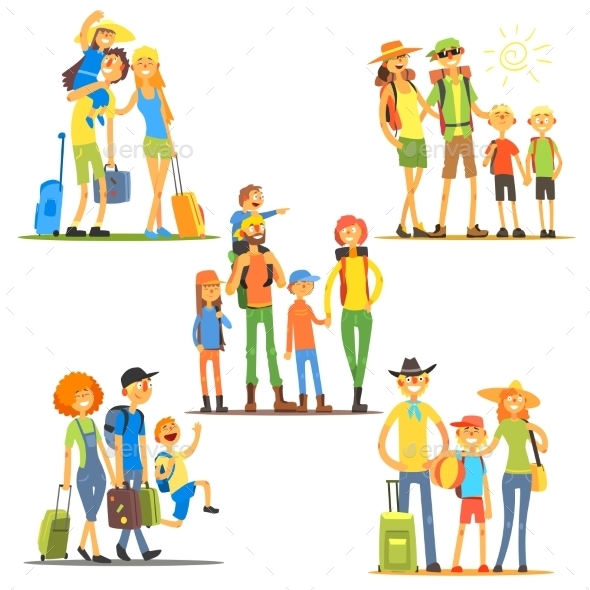 Families On Vacation. Vector Illustration  - People Characters