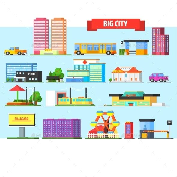 Big City Buildings Set. Vector Illustartion - Buildings Objects
