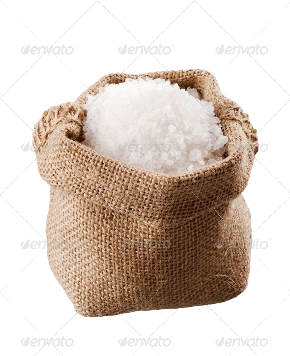 Sea salt in a  burlap sack - Stock Photo - Images