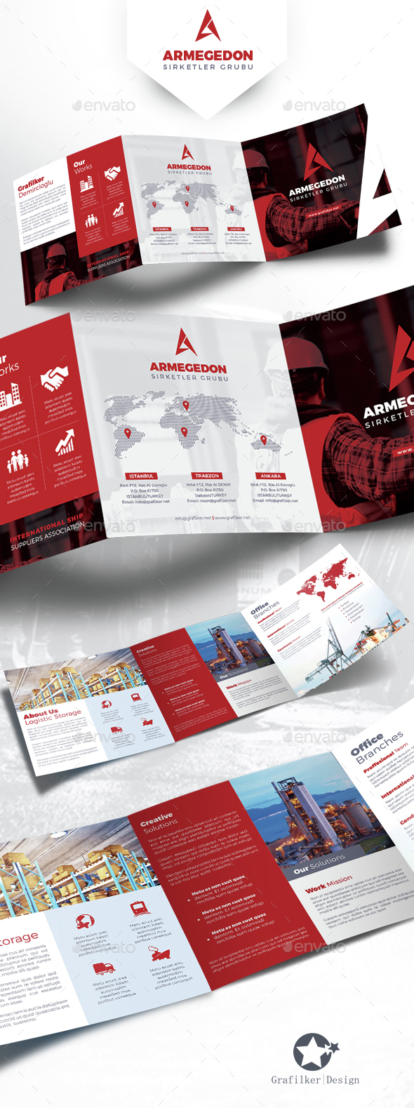International Square Tri-Fold Brochure Templates - Corporate Brochures