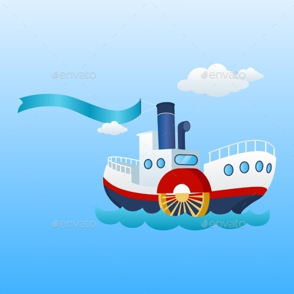 Nautical Ship. Ribbon, Flag And Sea Boat. - Travel Conceptual