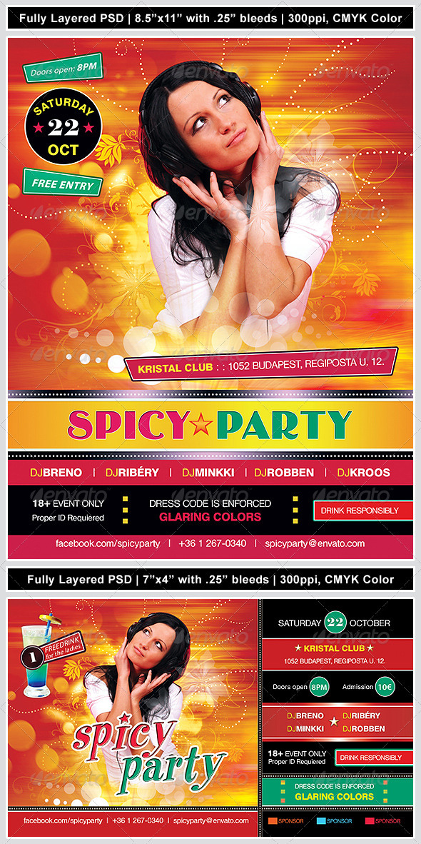 Hot & Spicy Poster/Flyer - Clubs & Parties Events