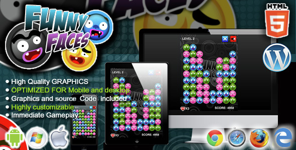 Funny Faces - HTML5 Match 3 Game - CodeCanyon Item for Sale