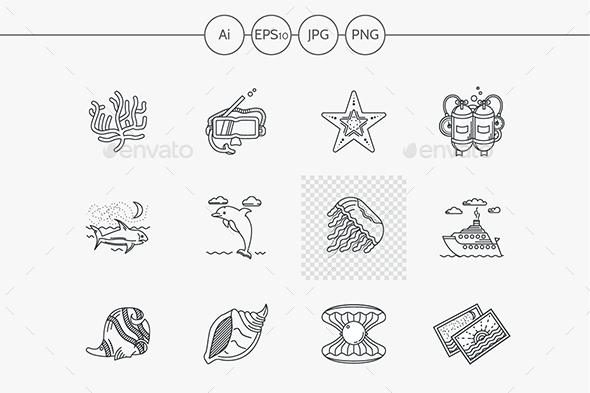 Sea vector icons flat line style - Seasonal Icons