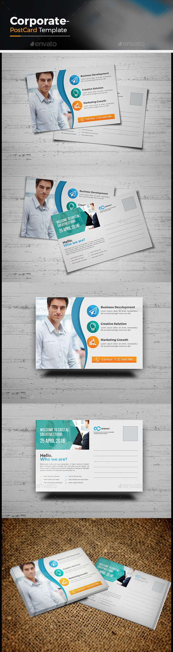 Corporate Postcard Template - Cards & Invites Print Templates
