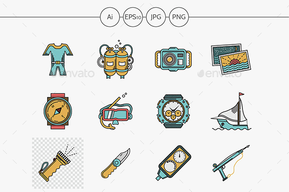 Sea vacation flat color vector icons - Miscellaneous Icons