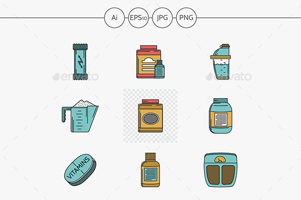 Sport supplements flat icons vector collection. - Food Objects