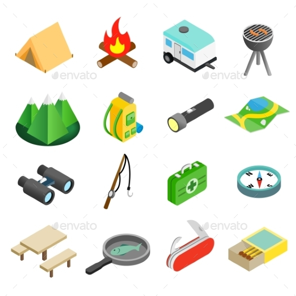 Camping Isometric 3d Icons - Miscellaneous Icons