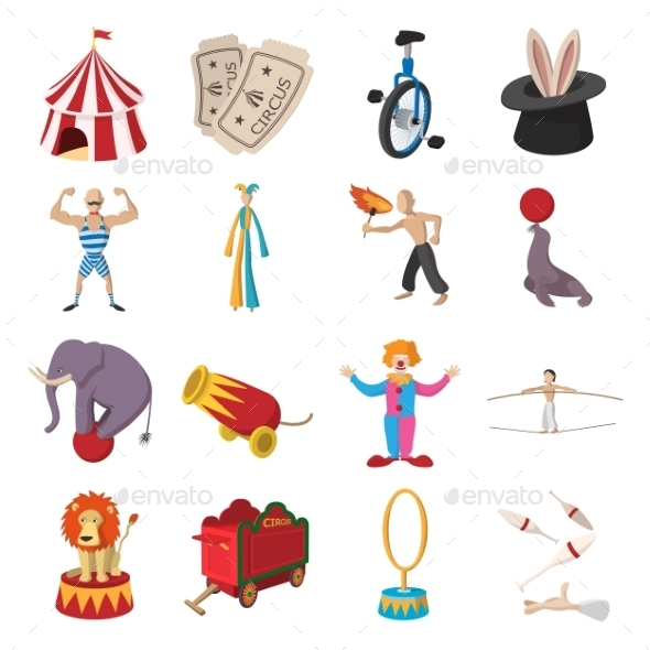 Circus Show Icons Cartoon Collection - Miscellaneous Icons