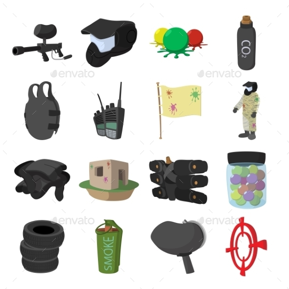 Paintball Game Cartoon Icons Set - Miscellaneous Icons