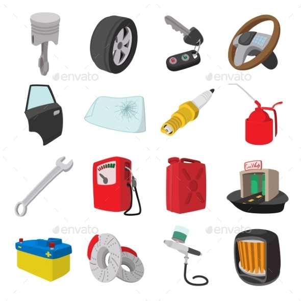 Car Service Maintenance Cartoon Icons - Miscellaneous Icons