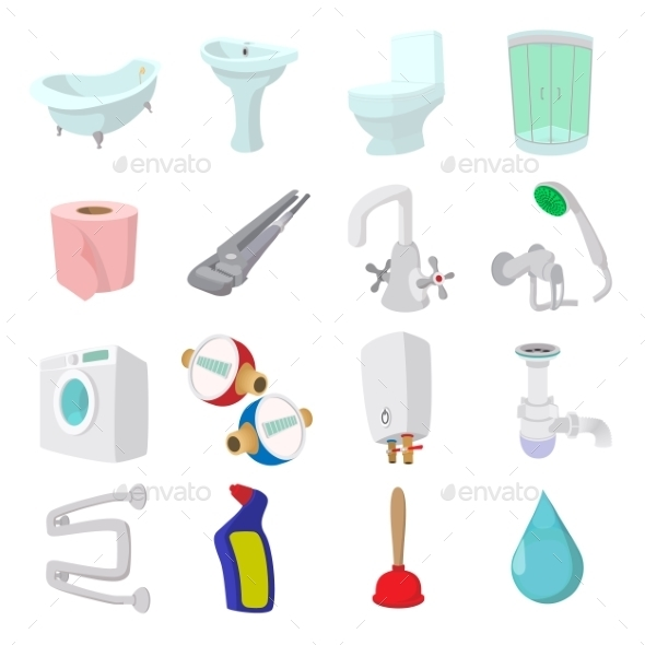 Sanitary Engineering Cartoon Icons - Miscellaneous Icons