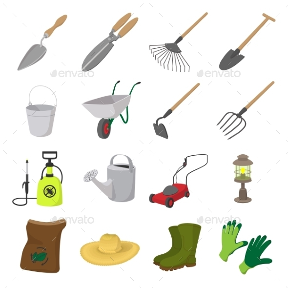 Garden Cartoon Icons Set - Miscellaneous Icons