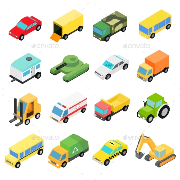 Types Of Automobiles Isometric Set - Miscellaneous Icons