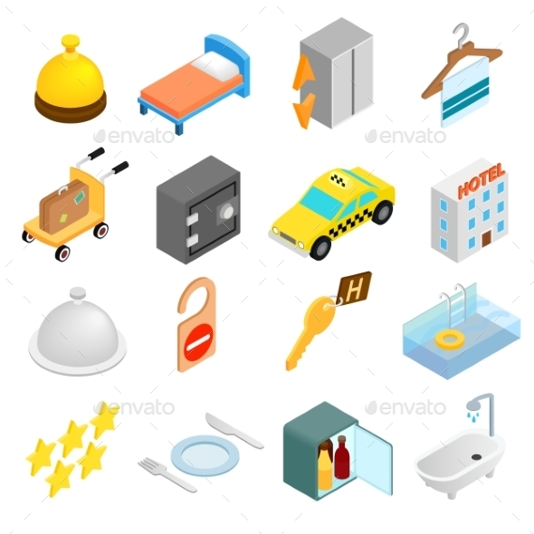 Hotel Isometric 3d Icons Set - Miscellaneous Icons