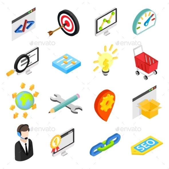 Seo Isometric 3d Icons Set - Miscellaneous Icons