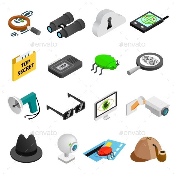 Spy Isometric 3d Icons - Miscellaneous Icons
