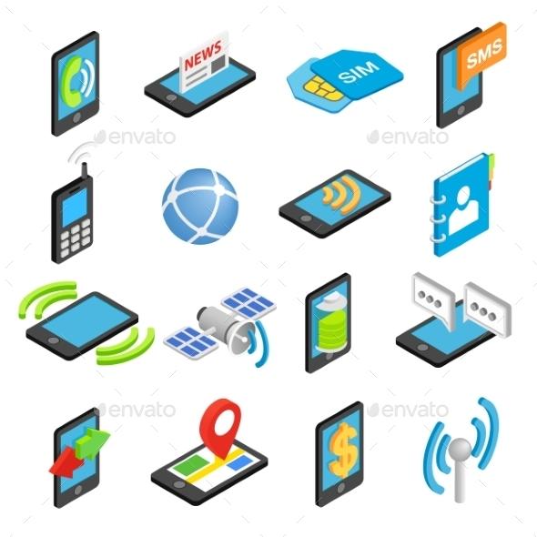 Phone Isometric 3d Icons Set - Miscellaneous Icons