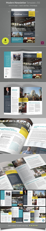 Modern Newsletter Template v05 - Newsletters Print Templates