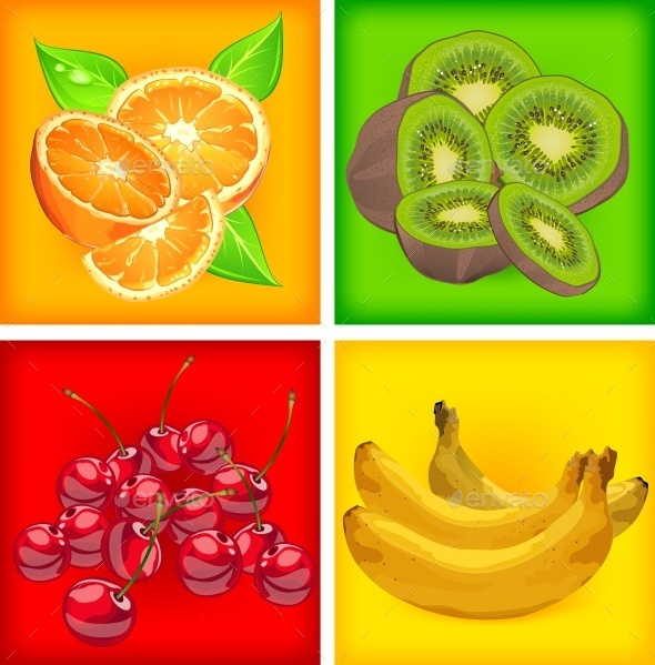 Four Banners with Fruits - Miscellaneous Vectors