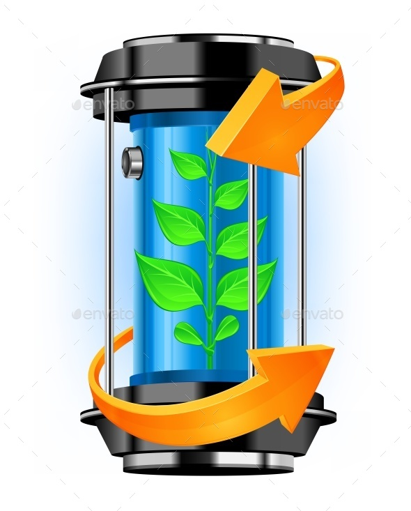 Energy Container with Plant - Miscellaneous Vectors