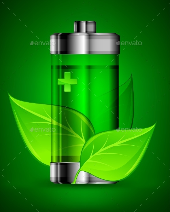Battery with Leaves - Miscellaneous Vectors