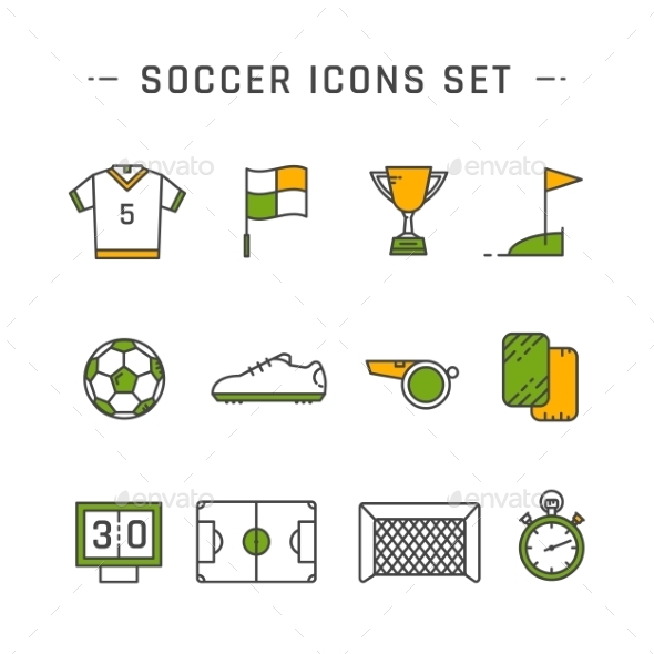 Soccer Line Icons - Objects Icons