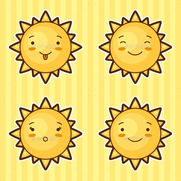 Set of Kawaii Suns with Different Faces - Miscellaneous Characters