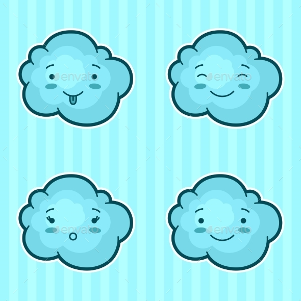 Set of Kawaii Clouds with Different Facial - Miscellaneous Characters