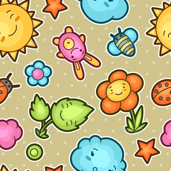 Seamless Kawaii Child Pattern with Doodles - Miscellaneous Characters