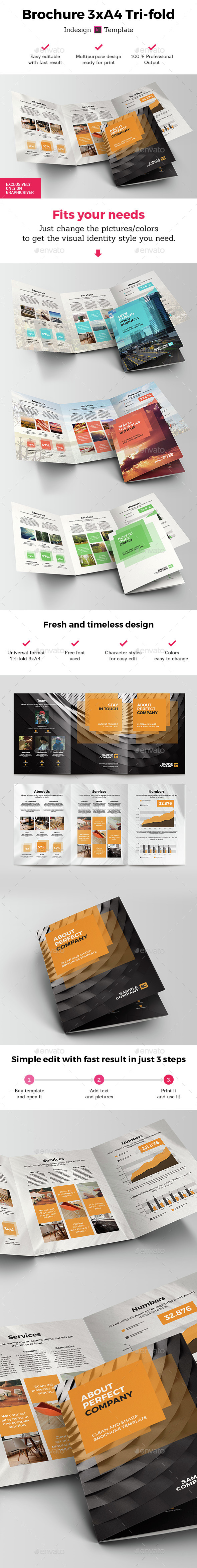 Brochure 3xA4 Tri-fold Indesign Template  - Brochures Print Templates