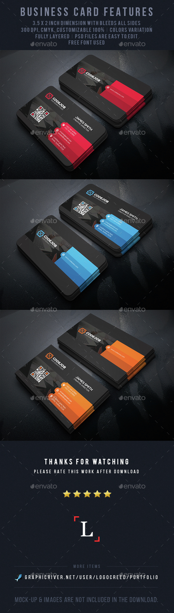 Color Shade Business Cards - Business Cards Print Templates