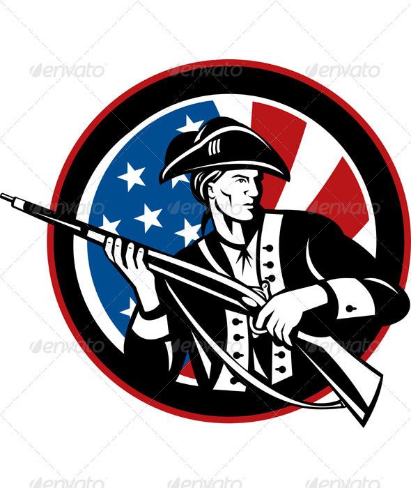American Patriot Minuteman Revolution Militia  - Characters Vectors