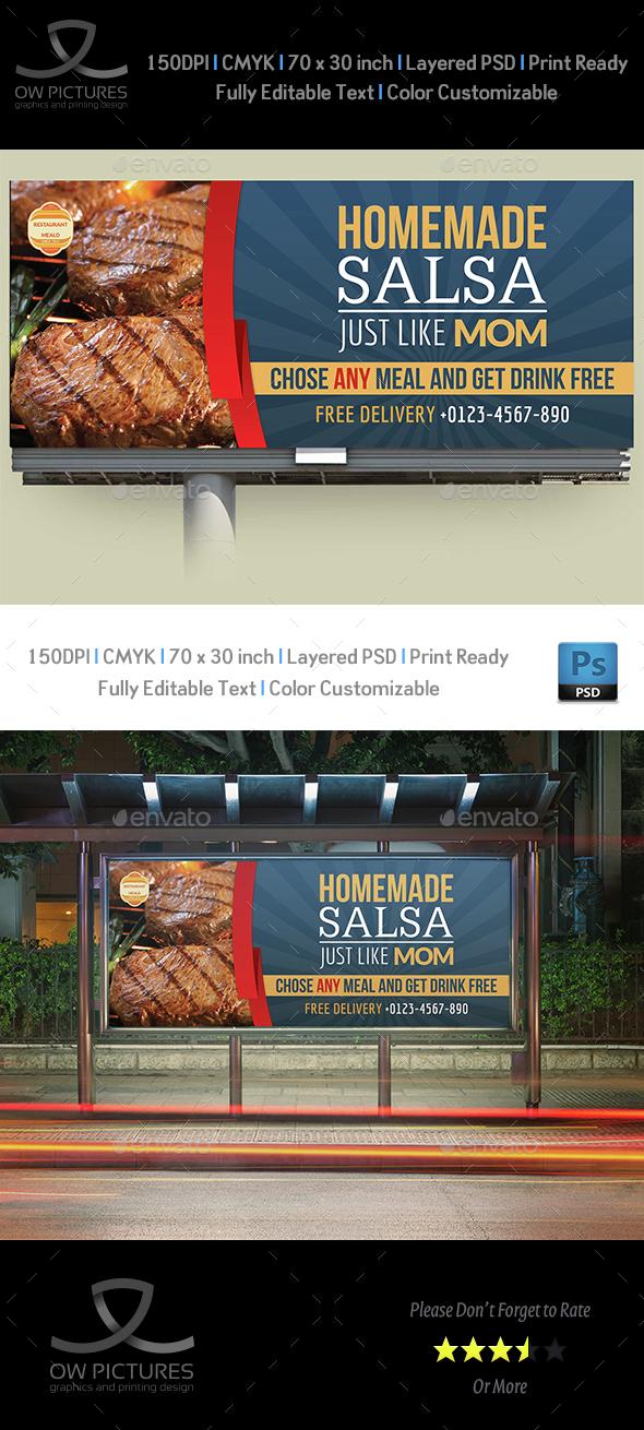 Restaurant Billboard Template Vol.3 - Signage Print Templates