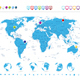 Detailed World Map with Globe Icons and Navigation Symbols - GraphicRiver Item for Sale