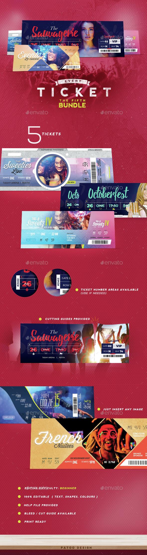 Event Tickets Bundle 5 - Miscellaneous Print Templates