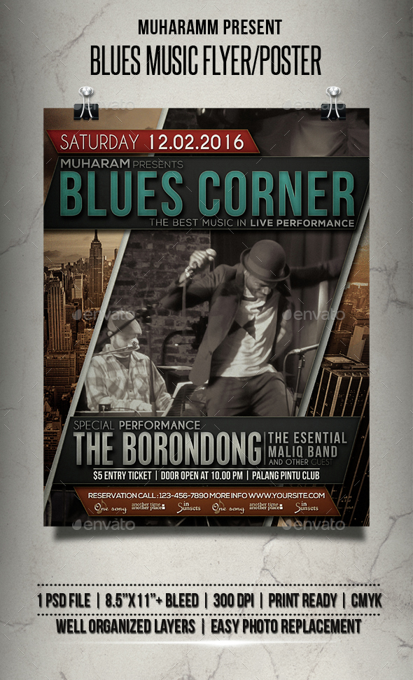 Blues Music Flyer / Poster - Events Flyers