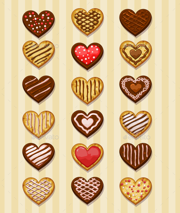 Set of Chocolate Heart Cookies - Food Objects