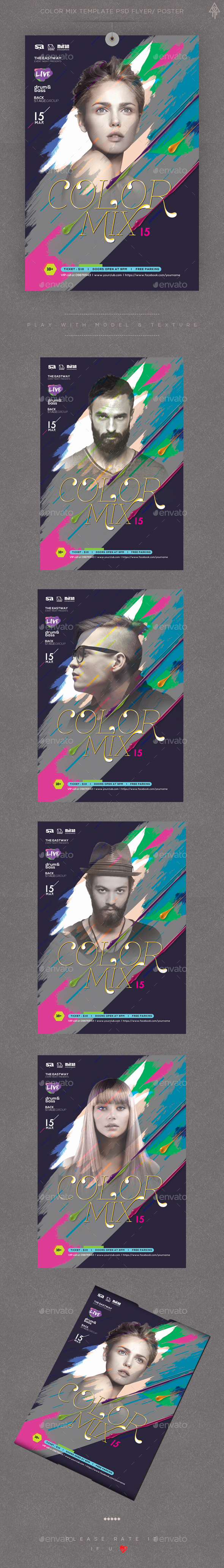 Color Mix Template PSD Flyer/ Poster - Clubs & Parties Events