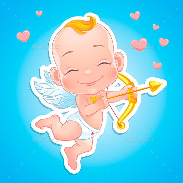 Happy Baby Cupid Shooting a Bow - Valentines Seasons/Holidays