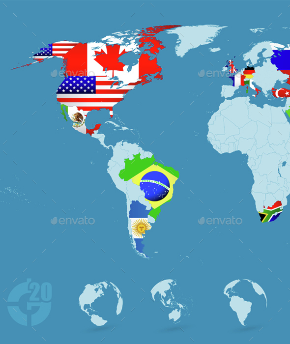 Country Flags On Detailed World map - Travel Conceptual