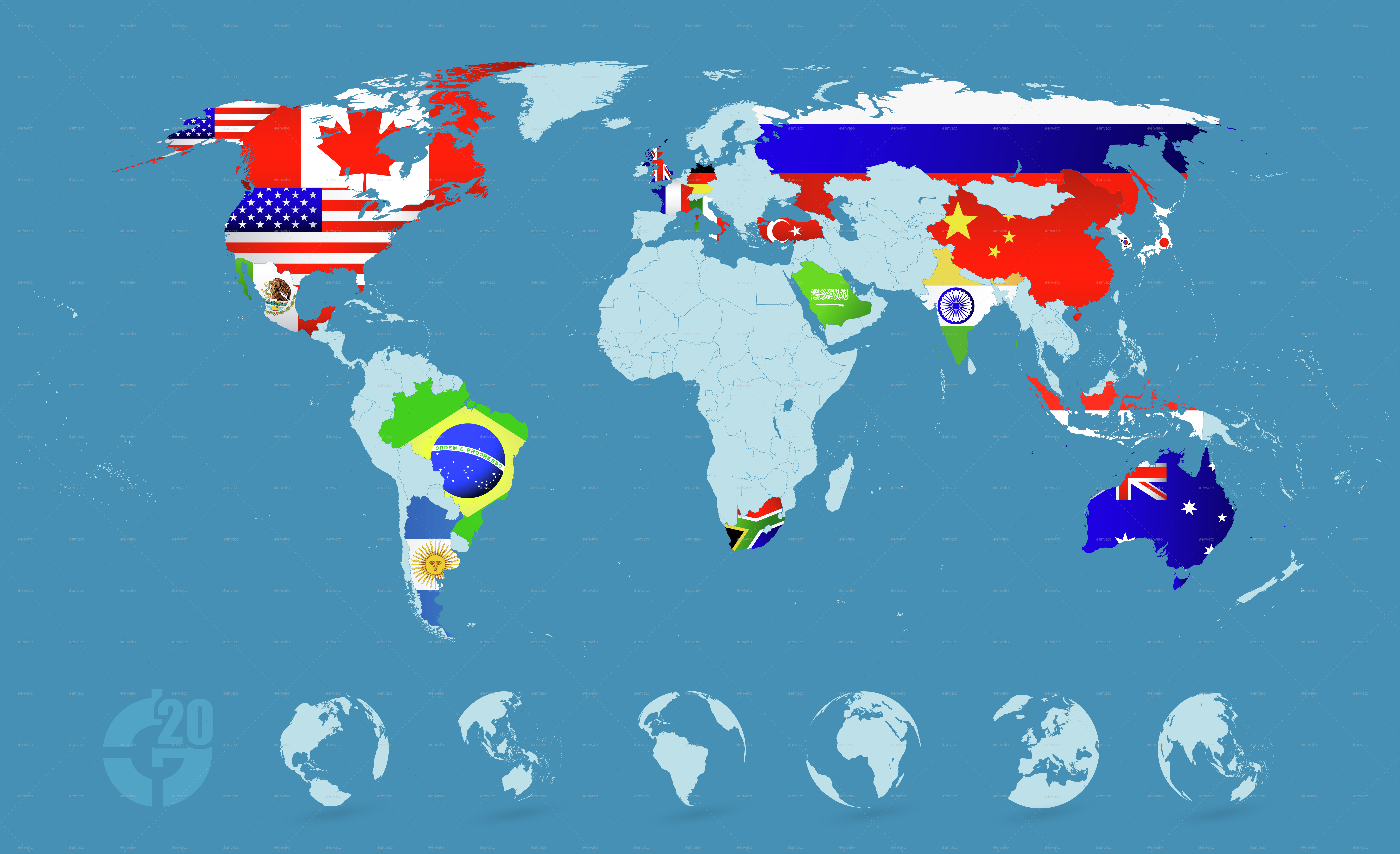Country flags on detailed world map by pomogayev graphicriver country flags on detailed world map gumiabroncs Choice Image