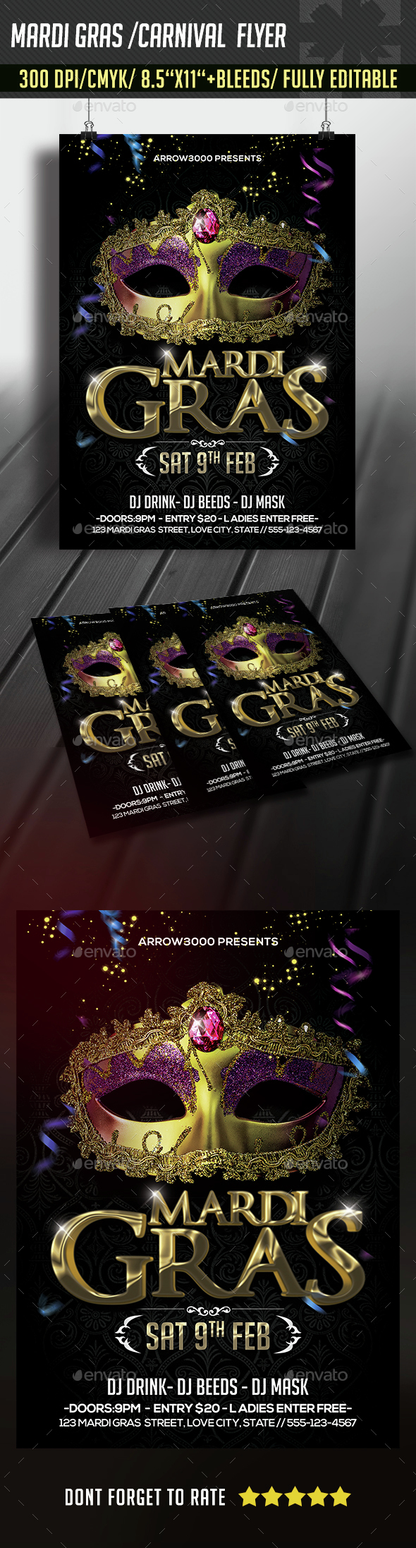 Mardi Gras/ Carnival Party Flyer - Clubs & Parties Events